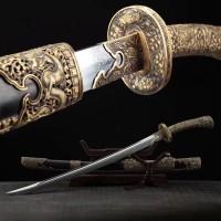 Dragon Chinese Sword Sabre Dao Broadsword Folded Steel Clay Temper Hazuya Polish Blade