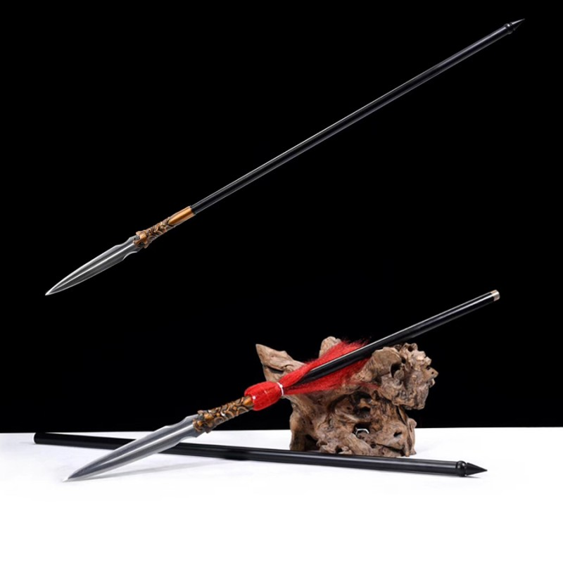 Tiger Spear Chinese Sword Folded Steel Spearhead Blade Stainless Steel Shaft Rod Kungfu Weapon