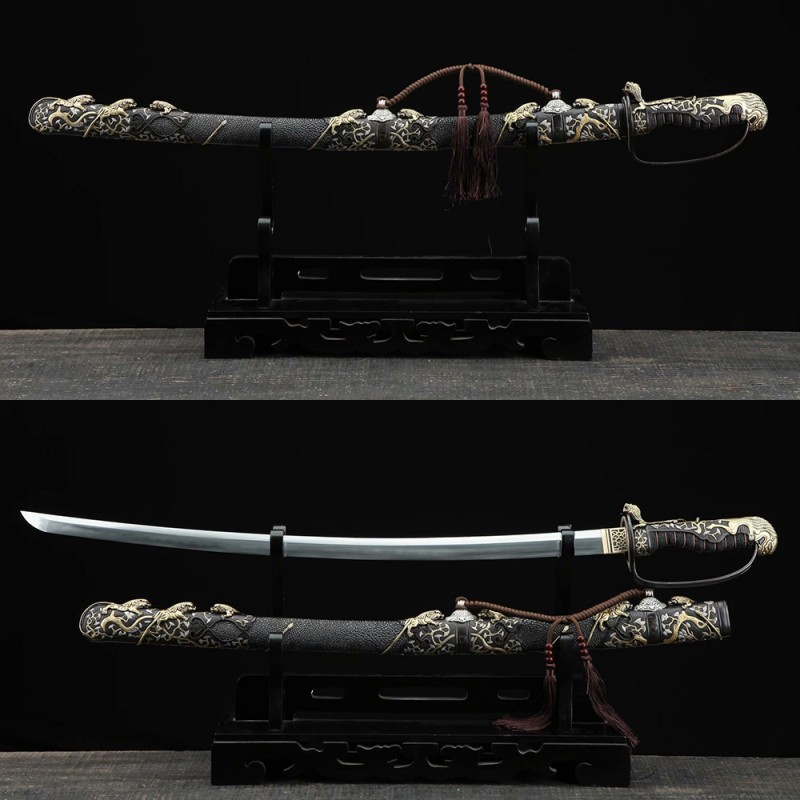 Hand Forged Japanese Saber fully rayskin saya clay tempered blade brass fittings