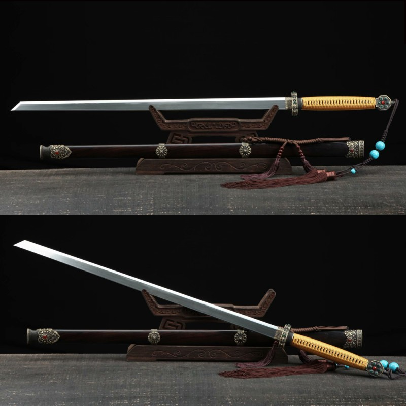 Chinese Tang Dao Sword Pattern Steel Folded Steel Blade Clay Tempered Samurai Sword