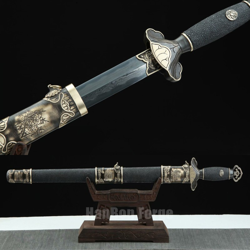 Chinese Jian Sword Song Dynasty Folded Pattern Steel Blade Clay Tempered Straight Double Edge Blade Sword