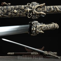 Chinese Sword Longwang Jian Hand Forged Folded Pattern Steel Blade Clay Tempered With Real Hamon