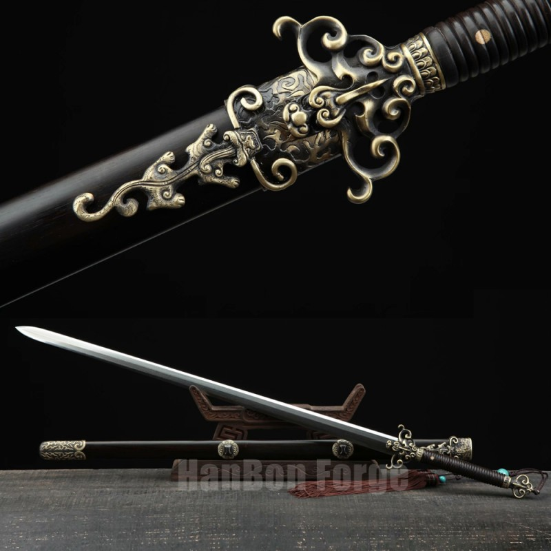 Chinese Sword Huolong Jian Dragon Sword Handmade Pattern Steel Clay Tempered Blade Copper Carved Dragon