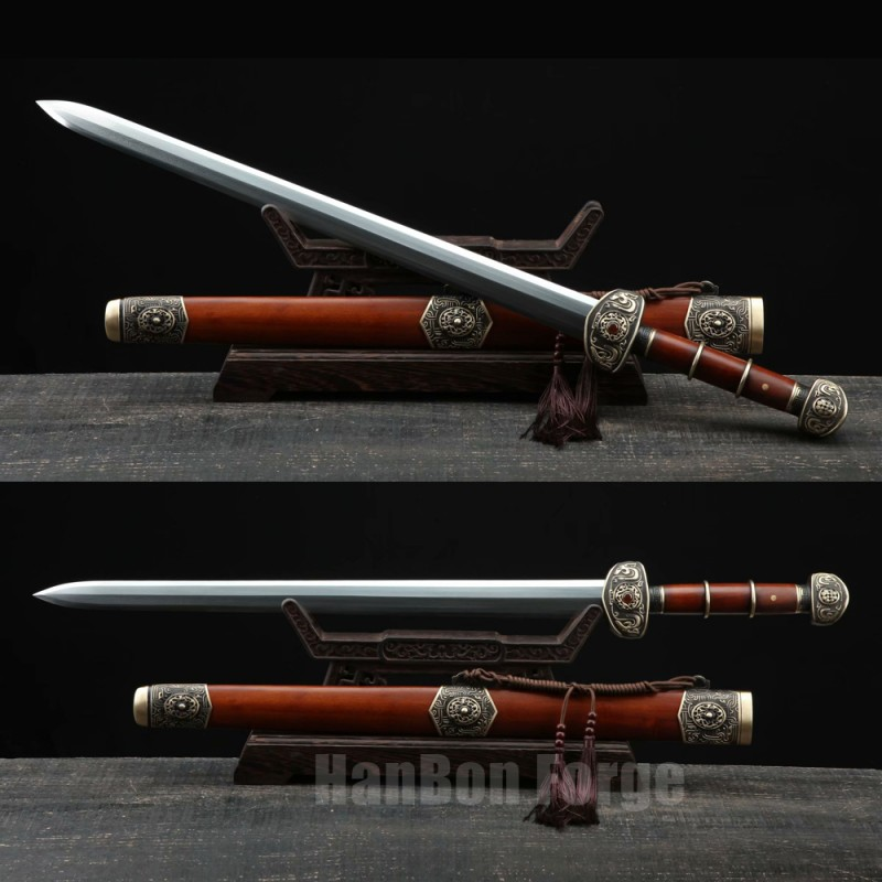 Chinese Sword Bawang Jian Clay Tempered With Pattern Steel Hand Forged Rosewood Scabbard Brass Carved