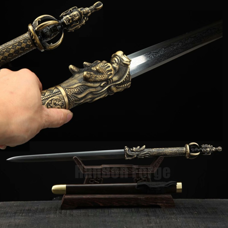 Chinese Sword Dragon Fumoren(龙头伏魔刃) Handmade Pattern Steel  Blade Ebony Scabbard Clay Tempered