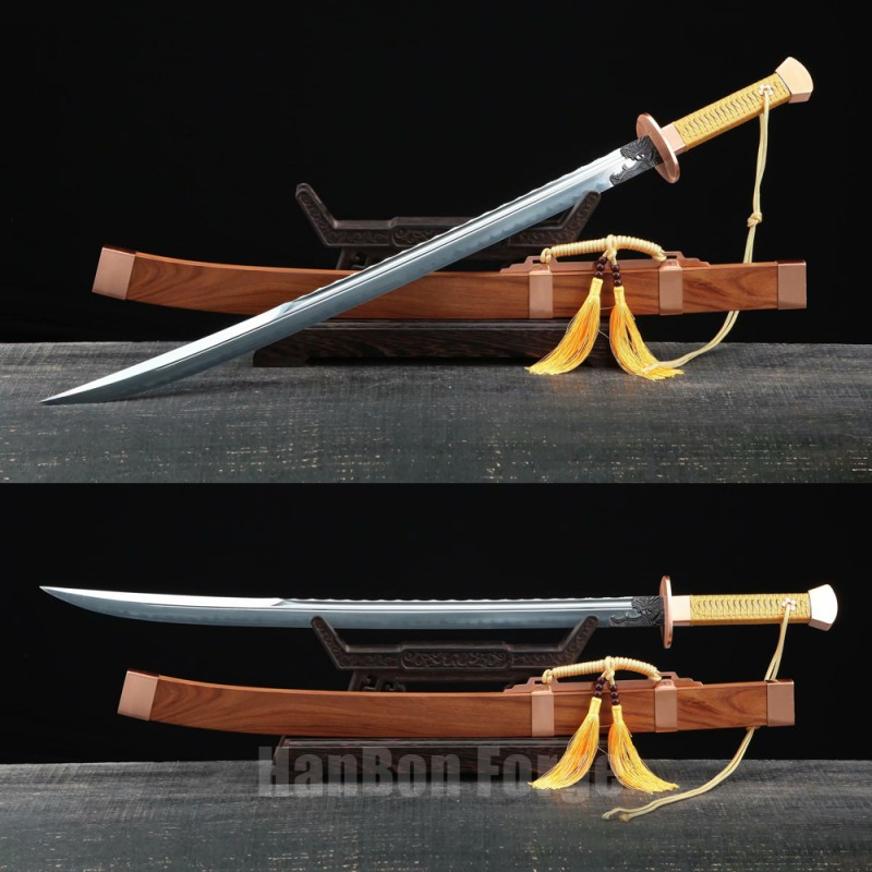 Chinese Sword Qing Dao Handmade Clay Tempered Blade Red Copper Fittings With Real Hamon