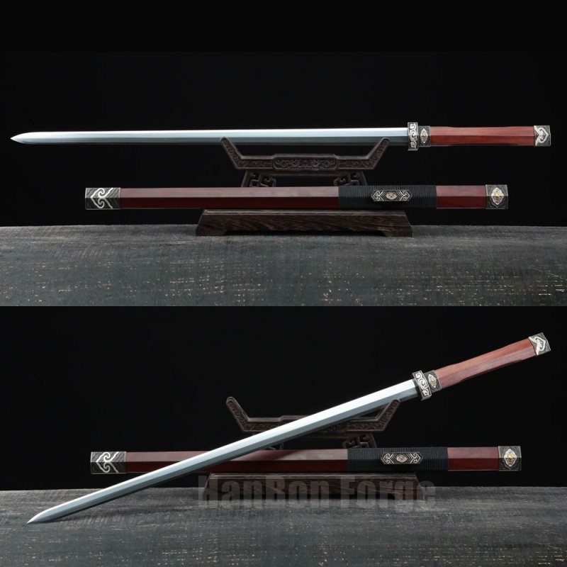 Chinese Sword Qin Dynasty Jian Hand Forged Pattern Steel Blade Copper Fittings Clay Tempered Traditional Sword