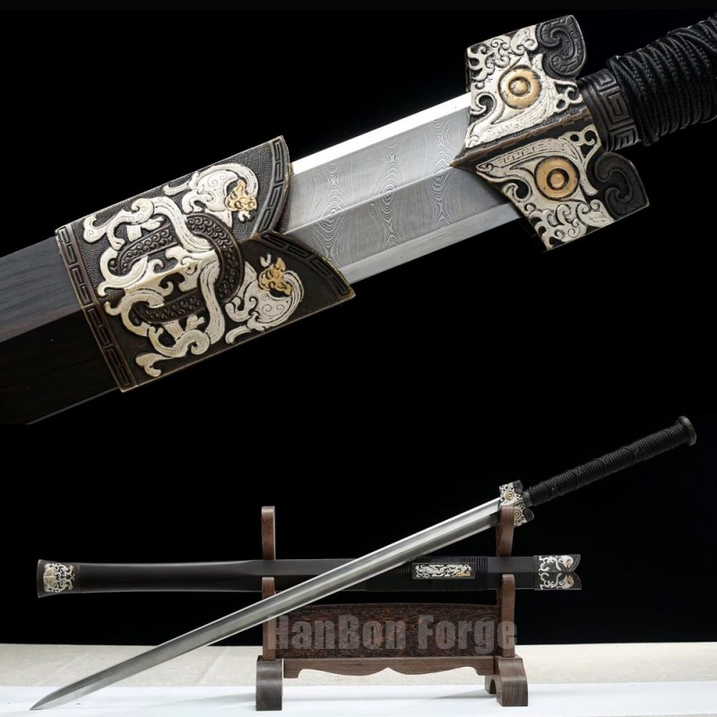 Chinese Sword Han Dynasty Jiaolong Hand Forged Damascus Steel Pure copper Gilt gold Gilt Silver Embossed Dragon Decoration