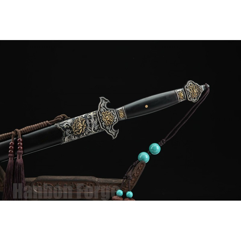 Chinese Sword Mudan Jian Hand Forged Folded Pattern Steel Clay Tempered Balde With Hi Copper Fittings