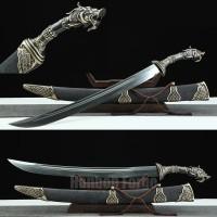 Chinese Sword Hailong Dao Dragon Design Handmade Pattern Steel Clay Tempered Blade Hand Polishing Rayskin Scabbard