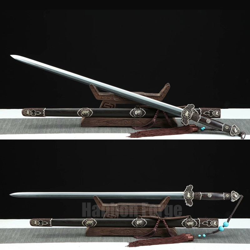 Chinese Sword Funiu Jian Bull Design Handmade Pattern Steel Pure copper carving Fittings Clay Tempered Hand Polished