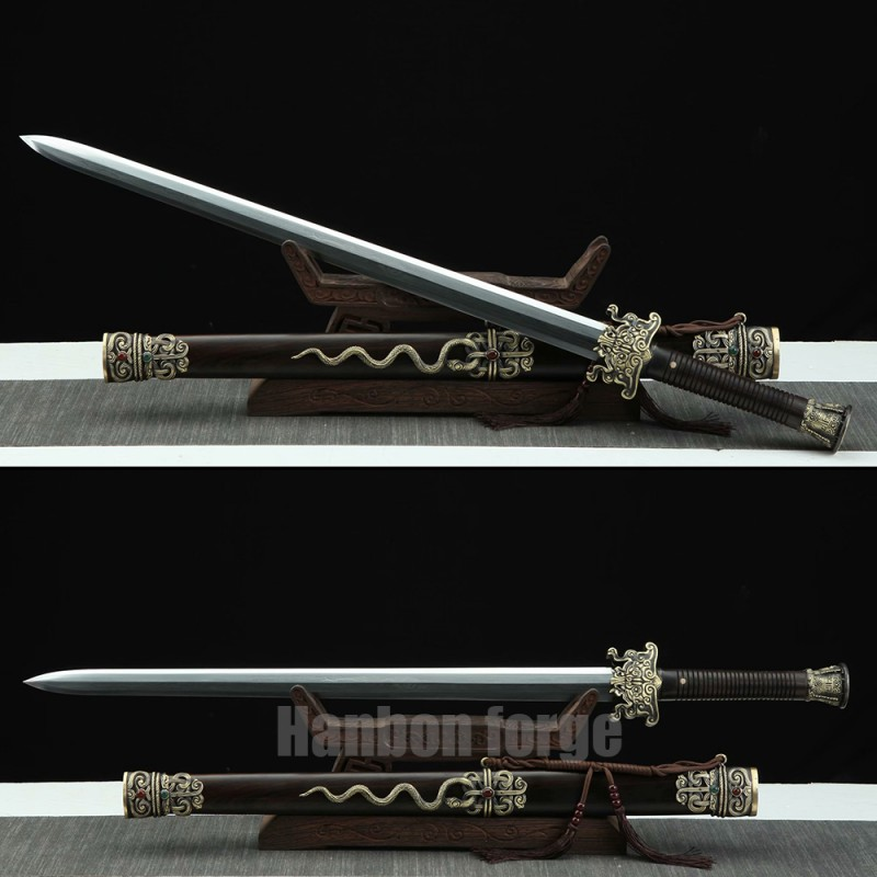 Chinese Jian Sword Hand Forged Clay Tempered Pattern Steel Traditional Snake Jian With Carved Copper Fittings
