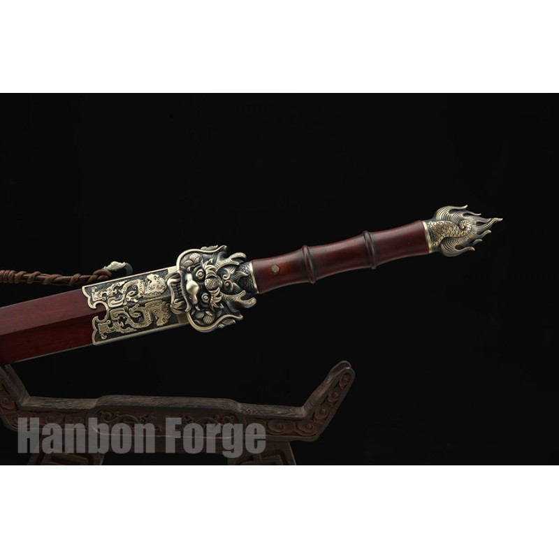 Chinese Jian Dragon Sword Fully Handmade Folded Pattern Steel With Clay Tempered Hamon Blade