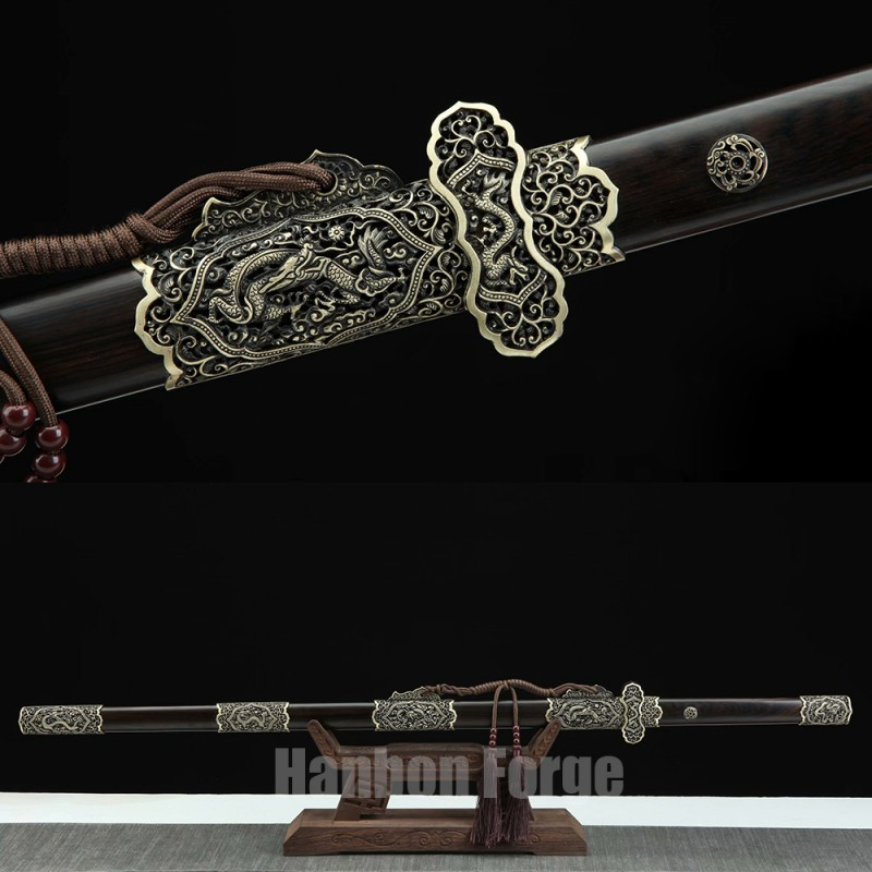 Chinese Dao Sword Dragon Theme Fully Handmade Pattern Steel Real Straight Sword Tang Dynasty Dao