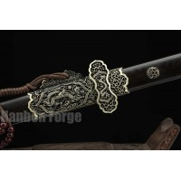 Chinese Tang Dao Sword Dragon Theme Fully Handmade Pattern Steel Real Straight Blade