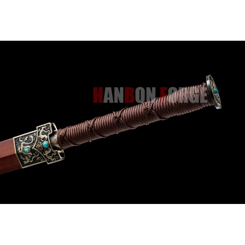 Chinese Sword Four Beasts Han Jian Hand Forged Pattern Steel Blade Hand Polish With Brass Fittings