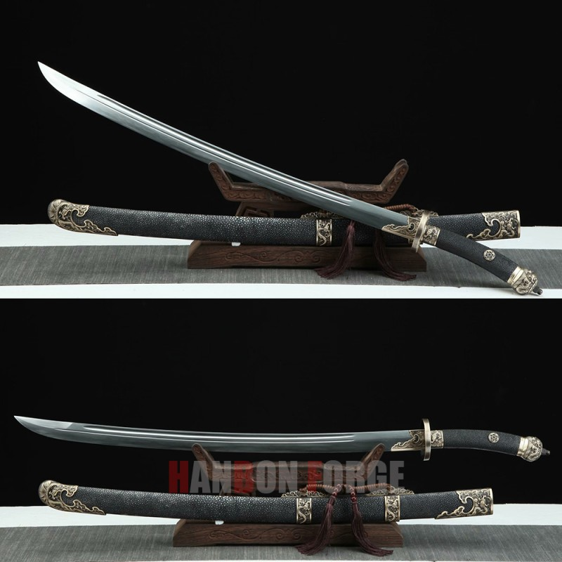 Chinese Dragon Qing Dao Sword Hand Forged Pattern Steel With Clay Tempered Blade Fully Hand Polished With Real Rayskin Scabbard