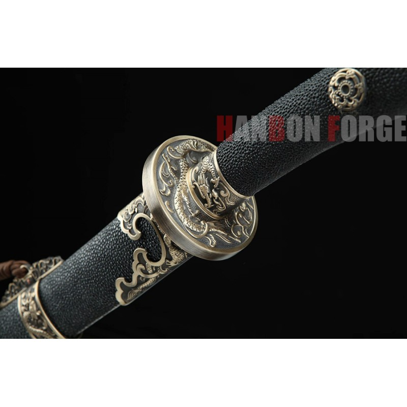 Chinese Dragon Qing Dao Sword Hand Forged Pattern Steel With Clay Tempered Blade Real Rayskin Scabbard