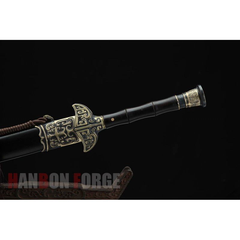 Chinese Tiangang jian sword fully handmade polished pattern steel with clay tempered blade