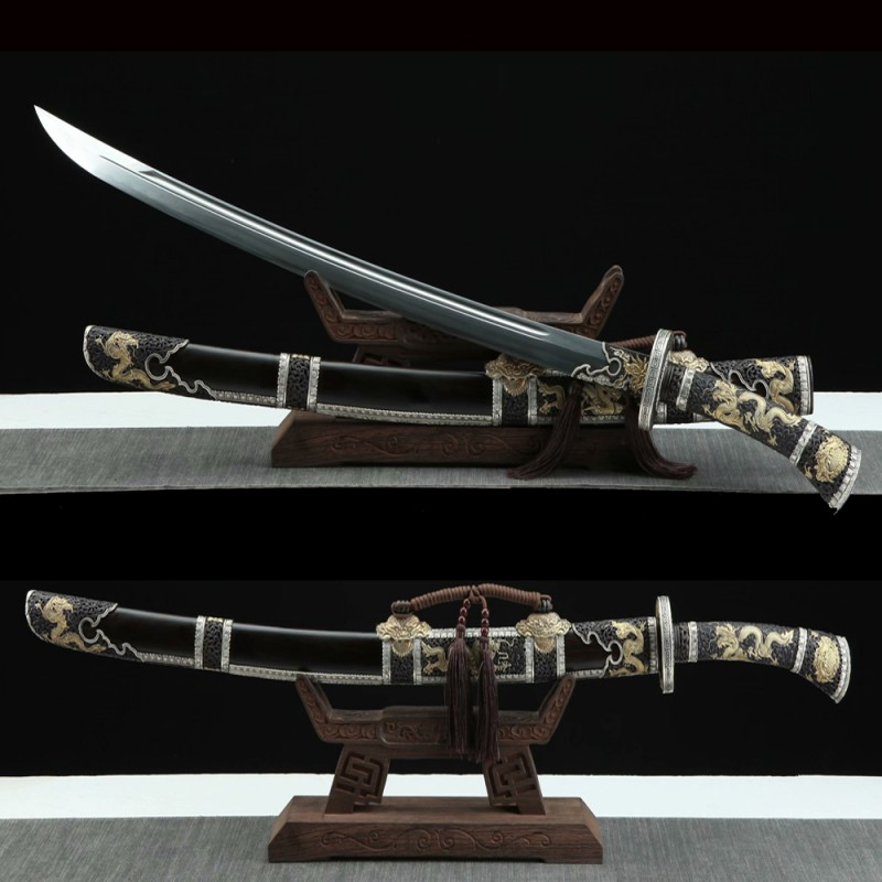 Chinese Dao Sword Folded Pattern Steel Full Tang Blade Clay Tempered Samurai Sword