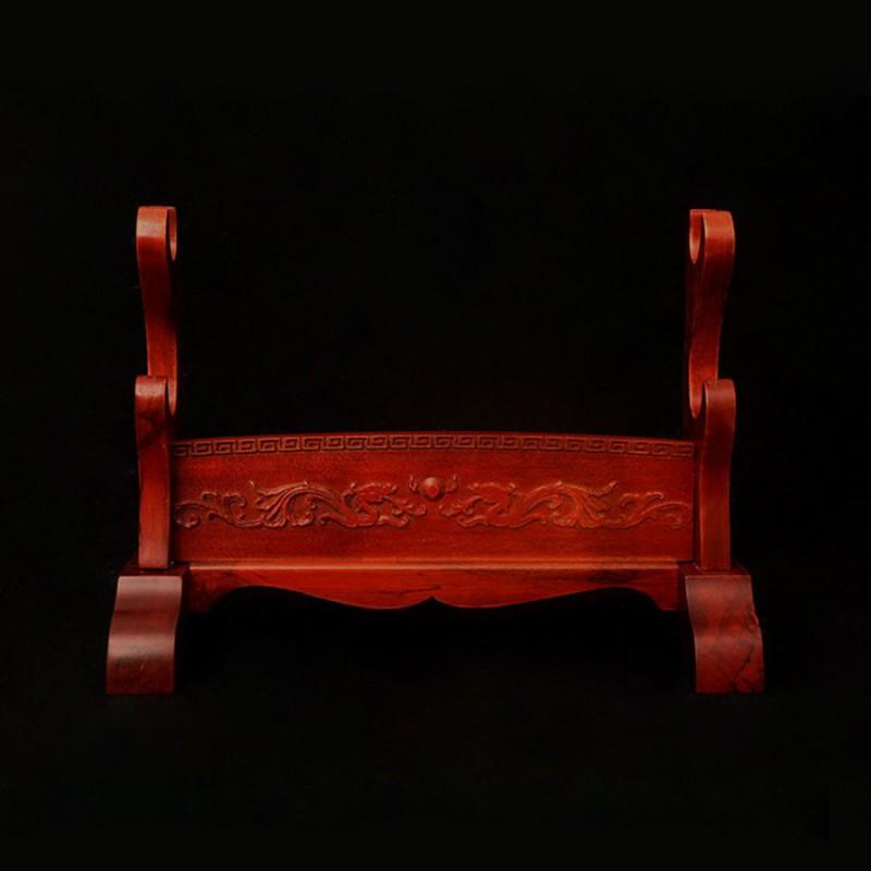 Red Wooden Sword Stands Display 2-Layer Japanese Katana Samurai Dragon Rack for Sale
