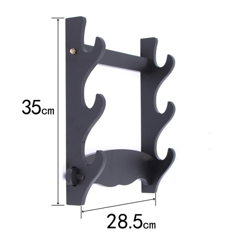Samurai sword wall stand display japanese swords black fibreboard rack three layers for sale