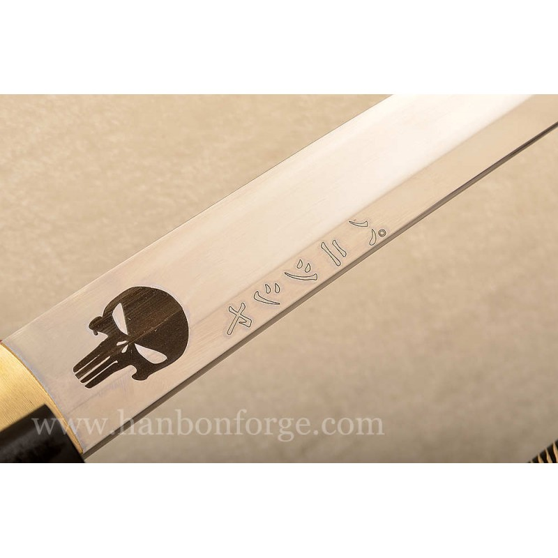 Custom 1060 Steel Katana Sword With Skull Pattern