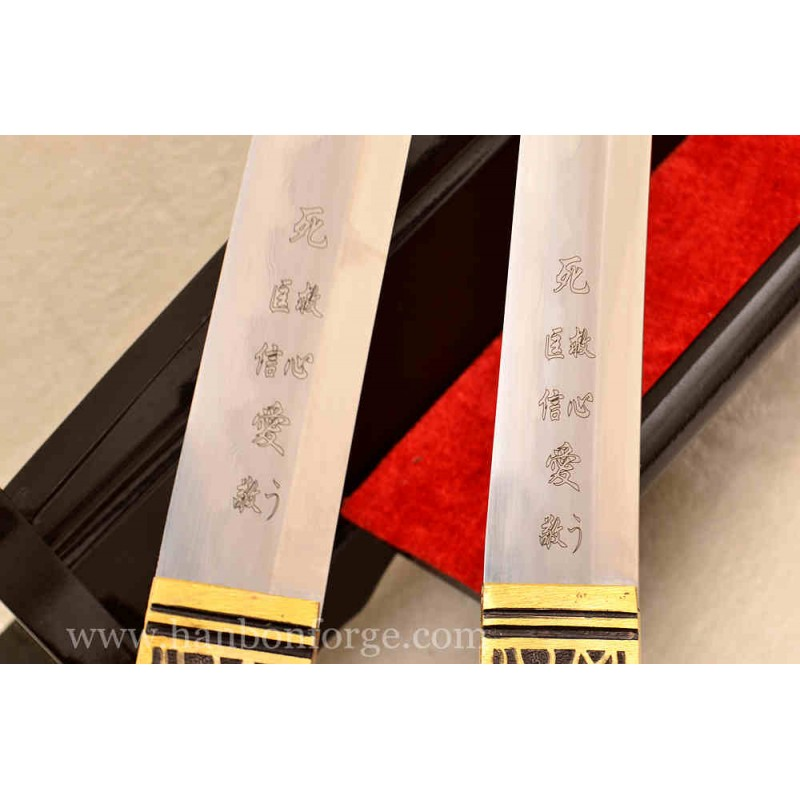 Customized Gyaku-Kobuse Style Japanese Sword Set Katana Tanto Sword