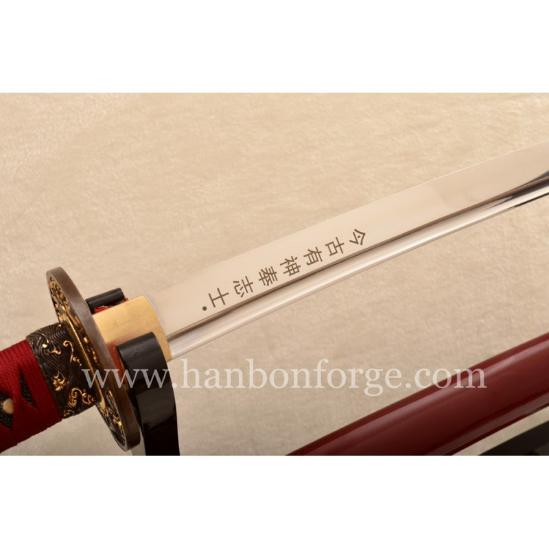 New Katana Red Saya 1095 Steel Full Tang Blade Japanese Sword