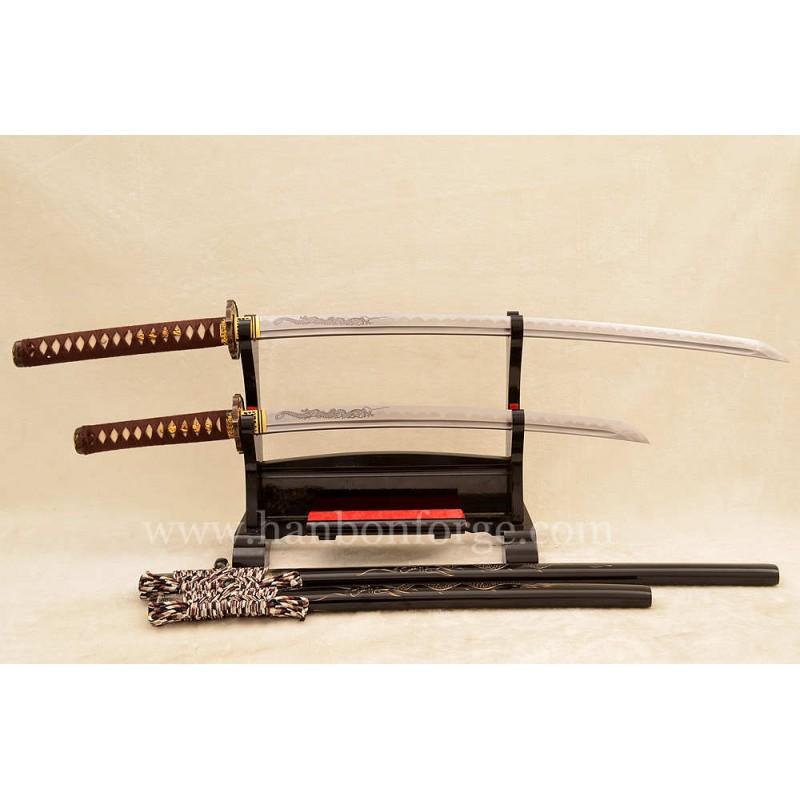 Customized Sword Set Kobuse Steel Clay Tempered Katana+Wakizashi